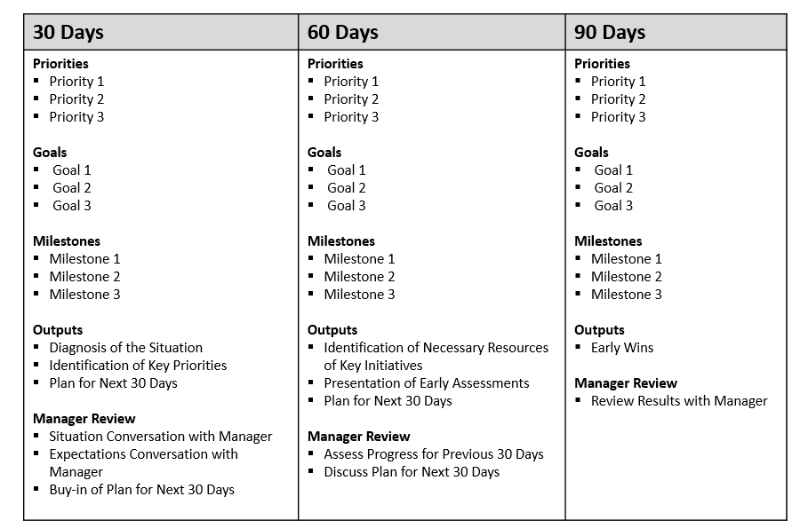 first 90 day plan template the first 90 days your road map for success at a new job